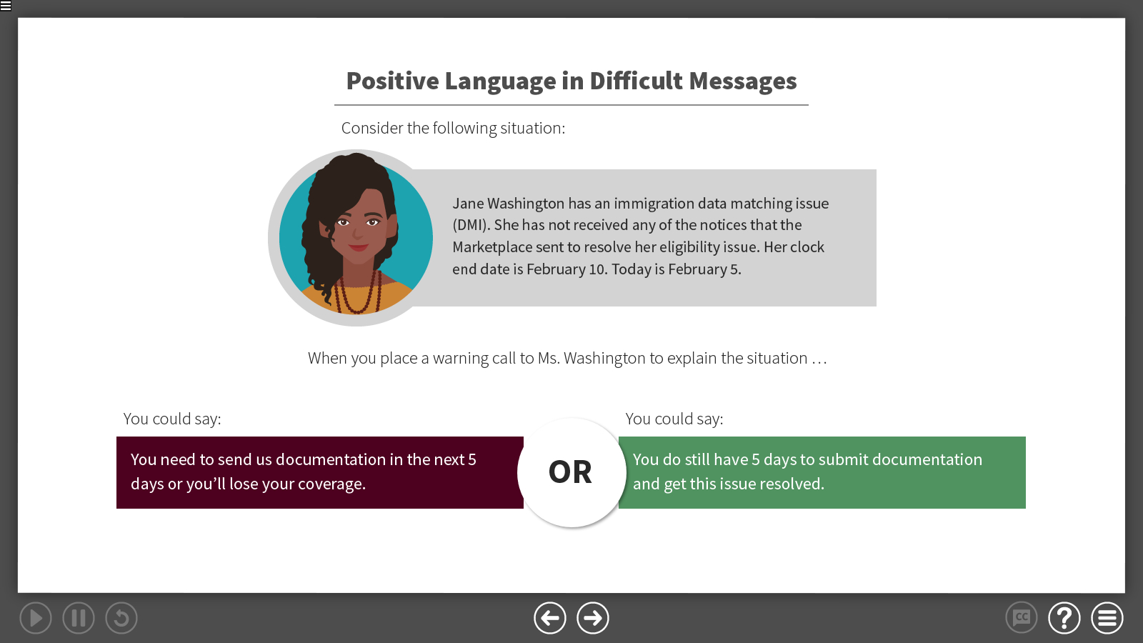a slide showing how to rephrase a negative statement to sound more positive