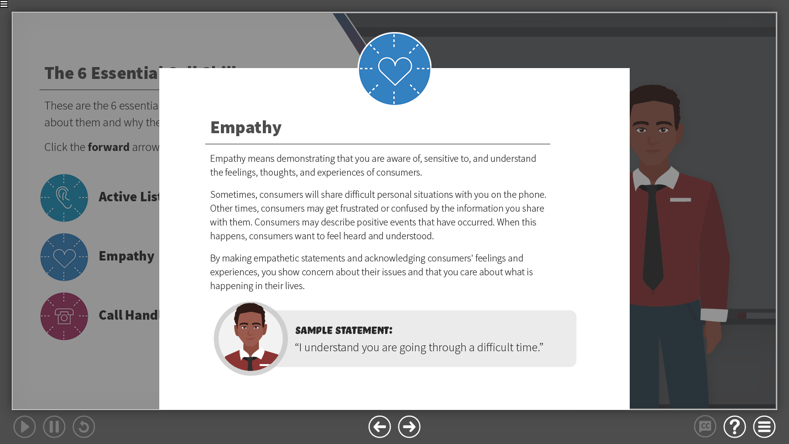 a slide describing how to be empathetic with callers
