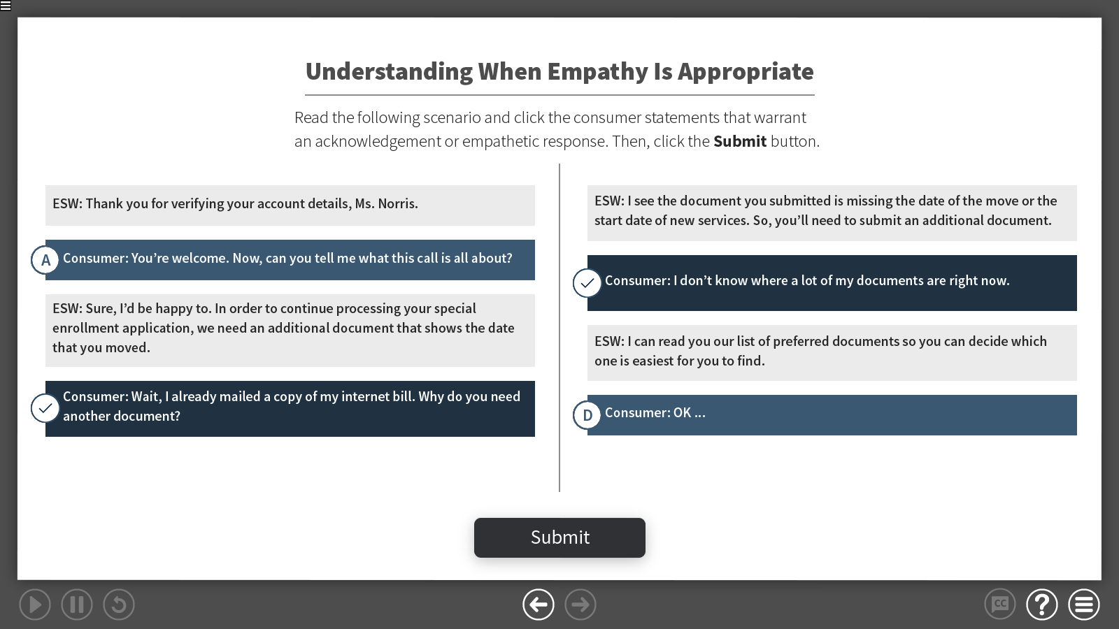 a multi-select activitiy to choose consumer language that requires an empathetic response