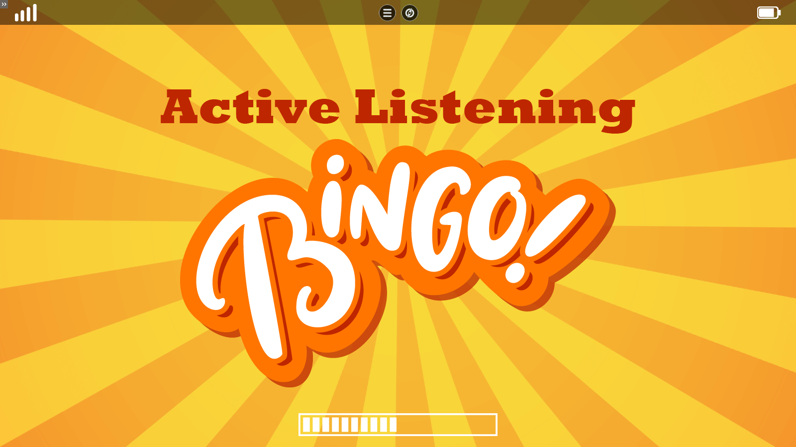 a title slide introducing a bingo game