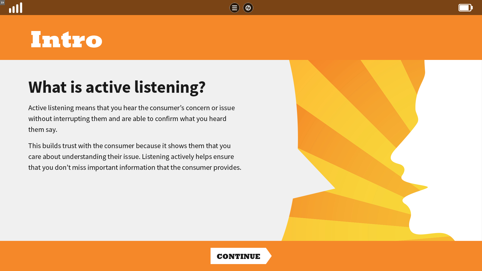 a highly stylized slide explaining active listening