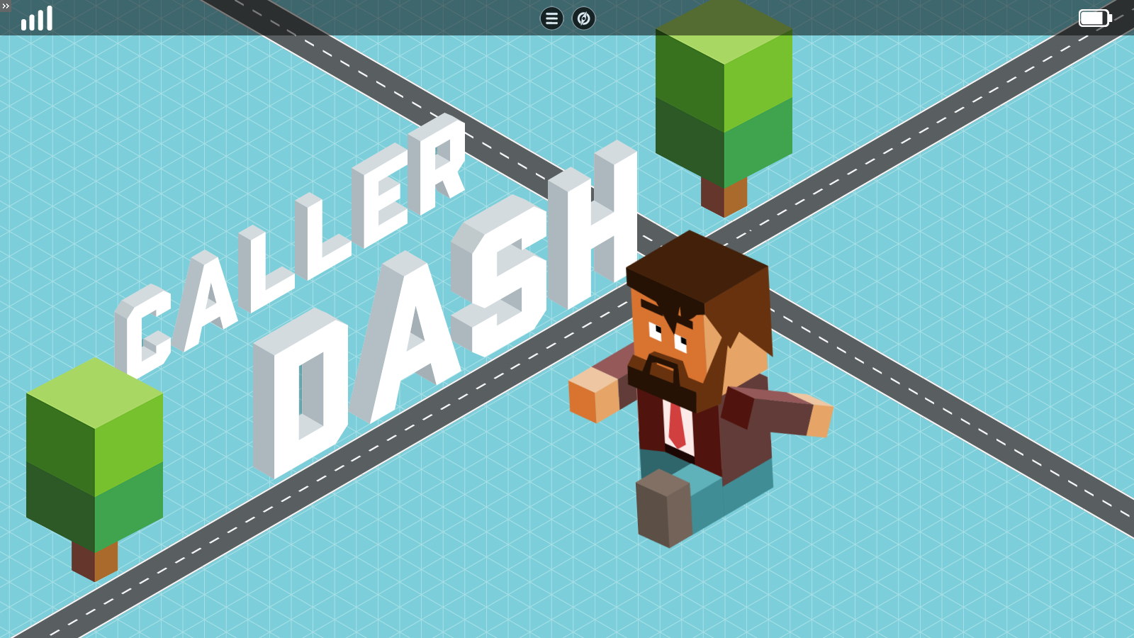 a title slide for a game called Caller Dash