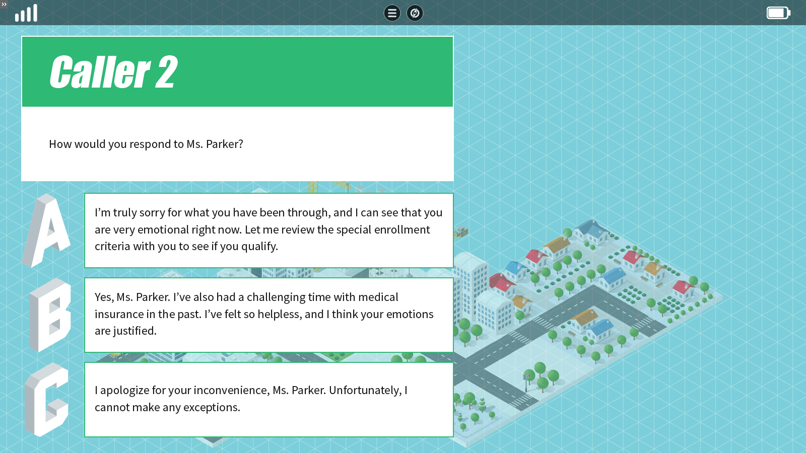 a quiz slide that guides and avatar across an isometric map
