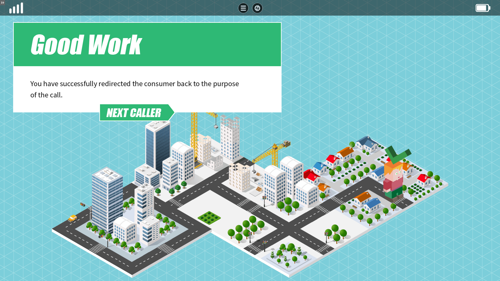 a feedback slide showing the caller reached the correct destination on the isometric map